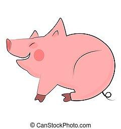 Smiling pig on white background