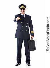 Smiling pilot - The pilot on a white background