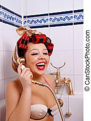 smiling pin-up girl - Pin up Girl with curler in Bath