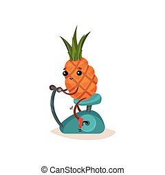 Smiling pineapple on stationary bicycle. Funny cartoon character with tuft of green leaves. Active lifestyle. Flat vector icon
