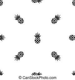 Smiling pineapple pattern seamless black