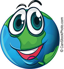 Smiling planet Earth - Illustration of the smiling planet...