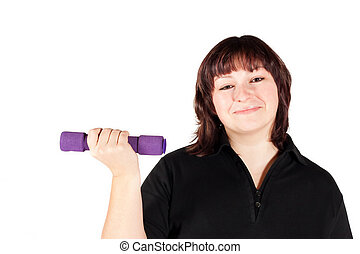Smiling Plus Size Female Getting Ready to Exercise