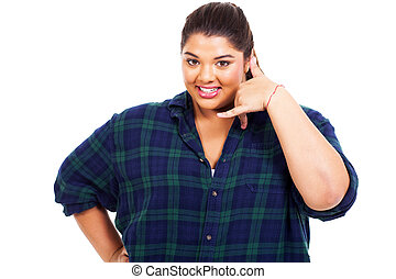 plus size woman doing call me sign - smiling plus size woman...