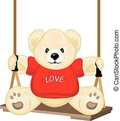 Smiling plush bear on the swing
