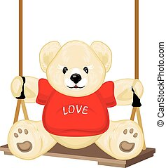 Smiling plush bear on the swing