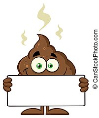 Smiling Poop Holding A Blank Sign