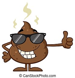 Smiling Poop With Sunglasses - Smiling Poop Cartoon Mascot...
