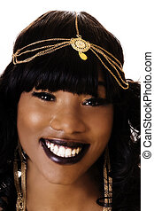 Smiling Portrait Attractive African American Woma On White