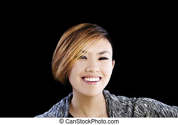 Smiling Portrait Attractive Asian American Woman On Black Background