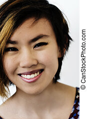 Smiling Portrait Attractive Asian American Woman Short Hair