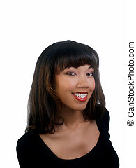 Smiling portrait of black woman with braces upper teeth