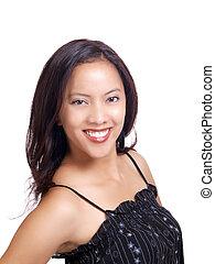 Smiling portrait of young hispanic woman black top
