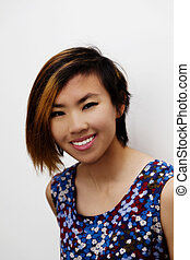 Smiling Portrait Skinny Young Asian American Woman
