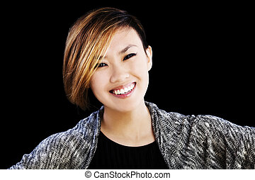 Smiling Portrait Young Asian American Woman Short Hair