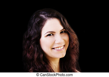 Smiling Portrait Young Caucasian Woman On Dark Background