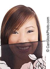 Smiling Portrait Young Teen Asian Girl Veil
