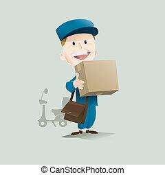 smiling postman delivering a package