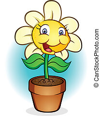 Smiling Potted Flower Cartoon - A smiling daisy in a terra...