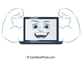 Smiling powerful laptop computer - Illustration of the...