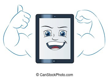 Smiling powerful tablet computer