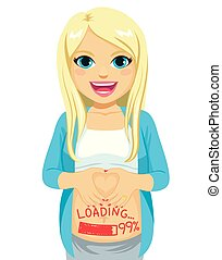 Smiling Pregnant Woman Loading Baby