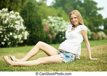Smiling pregnant woman