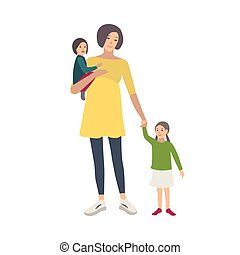Smiling pregnant woman walking with her daughters isolated on white background. Adorable adult female cartoon character spending time with children. Happy family. Vector illustration in flat style.