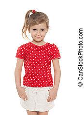 Smiling preschool girl against the white