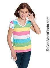 Smiling preteen girl