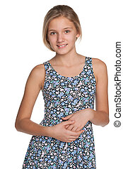 Smiling preteen girl against the white