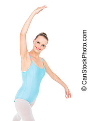 Smiling pretty ballerina training