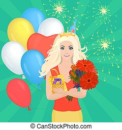 Smiling Pretty blond girl holding Gift Box and flowers. Birthday concept.