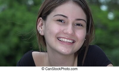 Smiling Pretty Female Teen Girl