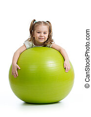 Smiling pretty kid with fitness ball. Isolated on white background.