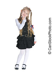 Smiling pretty little girl on the white