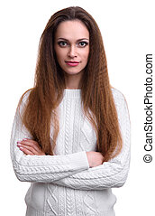 smiling pretty woman wearing sweater. Isolated
