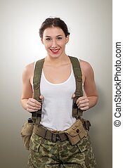 pretty young woman dressed in wwii american military uniform