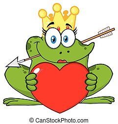 Smiling Princess Frog Cartoon Mascot Character With Crown And Arrow Holding A Love Heart