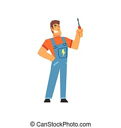 Smiling Professional Electrician with Screwdriver, Electric Man Character in Blue Overalls at Work Vector Illustration