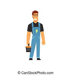 Smiling Professional Electrician with Toolbox, Electric Man Character in Blue Overalls at Work Vector Illustration