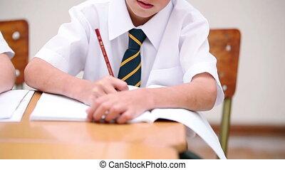 Smiling pupil wearing a uniform