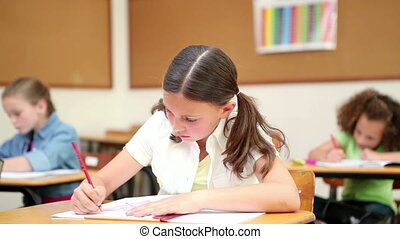 Smiling pupil working with her notebook