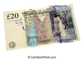 Smiling queen on £20 note - isolated