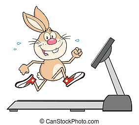Rabbit Cartoon Character Running - Smiling Rabbit Cartoon...