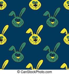 Smiling rabbit face seamless pattern