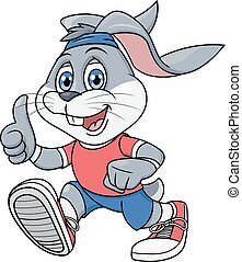 Smiling rabbit jogging 2