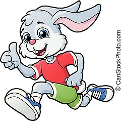 Smiling rabbit jogging