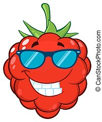 Smiling Raspberry Fruit Cartoon Mascot Character With Sunglasses