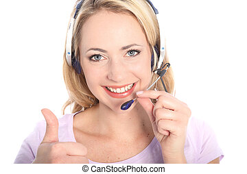 Smiling receptionist giving a thumbs up - Smiling beautiful ...